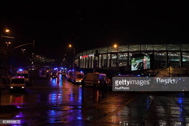 Ambulances arrive at the scene after explosions near the Besiktas Vodaphone Arena on December 10 2016 in Istanbul Turkey According to reports at...