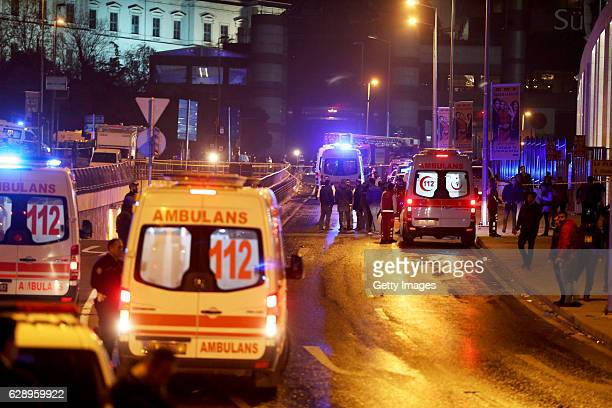Ambulances arrive at the scene after explosions near the Besiktas Vodaphone Arena on December 10, 2016 in Istanbul, Turkey. According to reports, at...