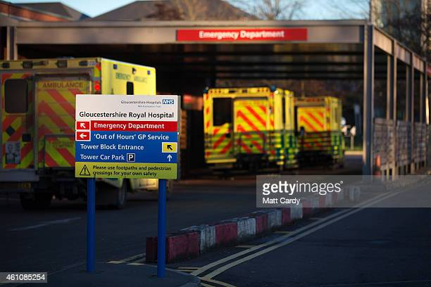 Ambulances arrive outside the Accident and Emergency department of Gloucestershire Royal Hospital on January 6, 2015 in Gloucester, England. The...