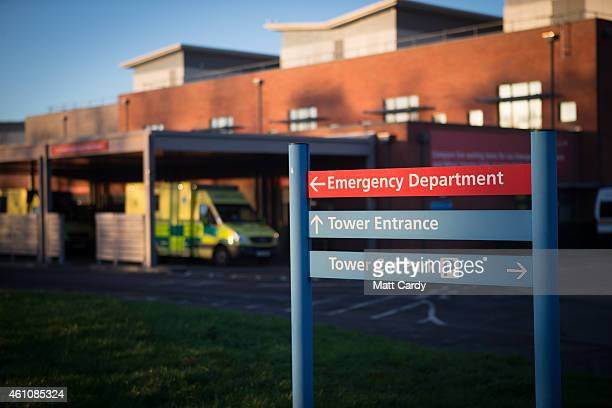 Ambulances arrive outside the Accident and Emergency department of Gloucestershire Royal Hospital on January 6 2015 in Gloucester England The...