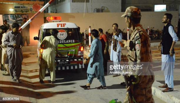 Ambulances arrive the site after powerful blast struck a military vehicle at a busy street in Quetta, the capital of southwestern Balochistan...