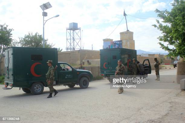 Ambulances carry people who got wounded on Taliban fighters' attack to the 209th Corps to hospitals in Balkh province Afghanistan on April 22 2017