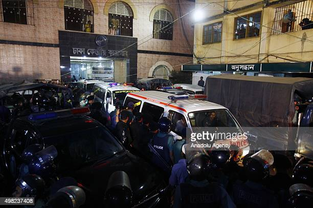 Ambulances carrying dead bodies of Salahuddin Quader Chowdhury and Ali Ahsan Muhammad Mojaheed leave the jail in Dhaka Bangladesh on November 22 2015...