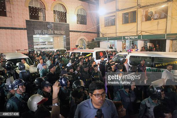Ambulances enter into Jail to carry dead bodies of Salahuddin Quader Chowdhury and Ali Ahsan Muhammad Mojaheed in Dhaka Bangladesh on November 22...