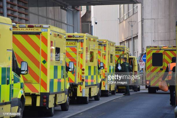 Ambulances in a queue outside the Royal London Hospital. The UK remains under the lockdown as the government battles to keep the coronavirus pandemic...