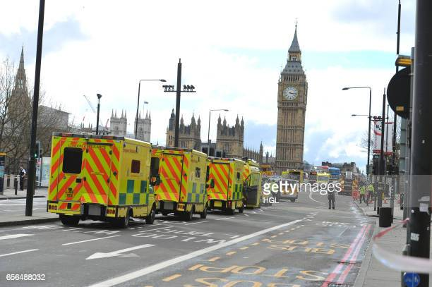 Ambulances line up on Westminster Bridge as they respond to an armed incident on March 22 2017 in London England A police officer has been stabbed...