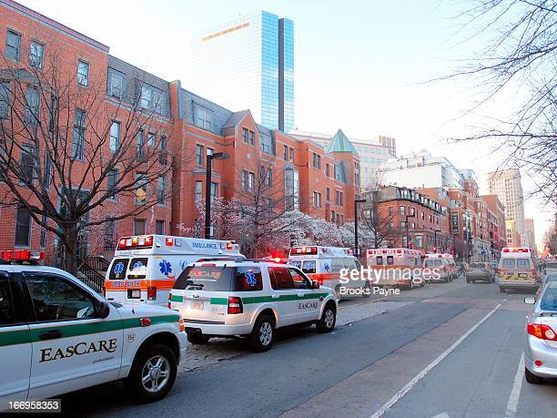 CONTENT] Ambulances lined up waiting to move into Copley Square the Boston Marathon's Finish Line and site of the bombings