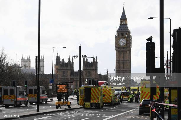Ambulances police vehicles and emergency services seen on Westminster Bridge on March 22 2017 in London England A police officer was stabbed near to...