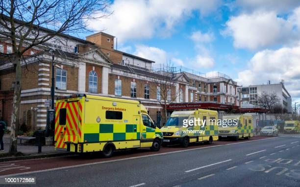 Ambulances queuing outside the Emergency Department at King's College Hospital, London