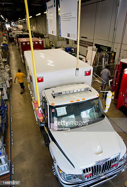 Ambulances sit on the assembly line at the Horton Emergency Vehicles facility in Grove City Ohio US on Friday Aug 3 2012 Horton Emergency Vehicles a...
