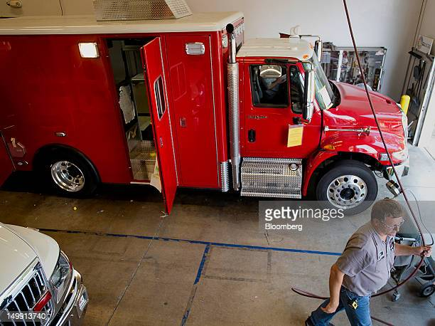 ambulances sit on the assembly line at the horton emergency vehicles  facility in grove city ohio