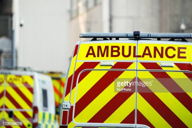 Ambulances sit outside the emergency department of the Royal London Hospital in London, England, on January 25, 2021. Across the UK, deaths recorded...