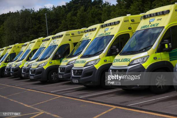 Ambulances sit parked at the Hollymore Ambulance Hub of the West Midlands Ambulance Service operated by the West Midlands Ambulance Service NHS...