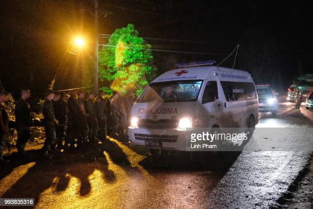 Ambulances transport boys rescued from Tham Luang Nang Non cave to hospital on July 8 2018 in Chiang Rai Thailand Divers began an effort to pull the...