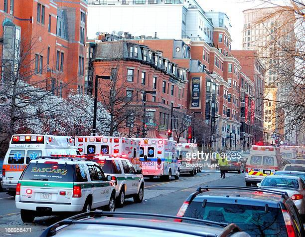 CONTENT] Ambulances waiting to move into Copley Square the site of the Boston Marathon bombings