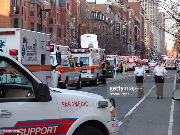 Ambulances waiting to move into Copley Square, the site of the Boston Marathon bombings.