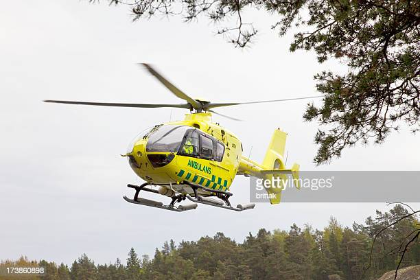 ambulans helicopter taking off. - medevac stock photos and pictures