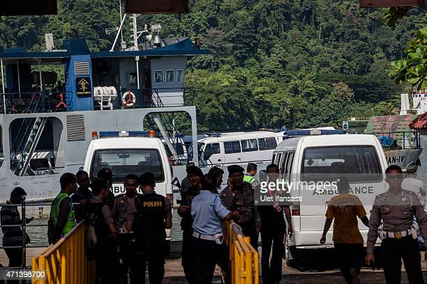 Ambulence are seen on the ship as transfered to Nusakambangan prison ahead of the executions of the Bali 9 on April 28 2015 in Cilacap Central Java...