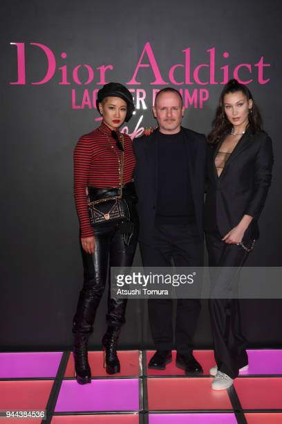 Ambush Creative Director YOON Makeup artist Peter Philips and Model Bella Hadid attend the Dior Addict Lacquer Plump Party at 1 OAK on April 10 2018...