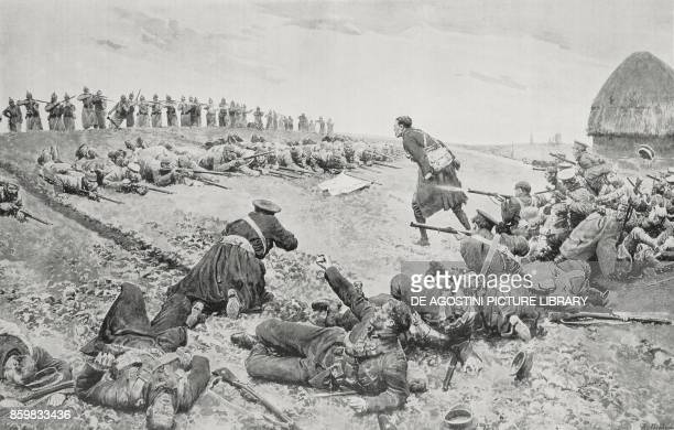 Ambush to the company of an English regiment by the Germans Flanders Belgium World War I drawing by Fortunino Matania L'Illustrazione Italiana Year...