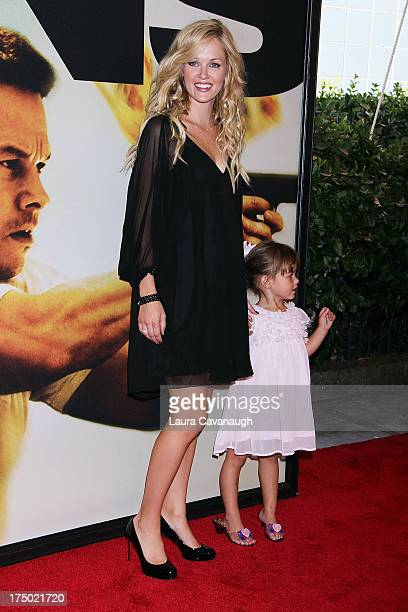 Ambyr Childers and daughter London Emmett attends the '2 Guns' premiere at SVA Theater on July 29 2013 in New York City