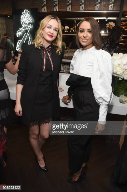 Ambyr Childers and Kat Graham celebrate with Jane Walker by Johnnie Walker at the 11th Annual Women In Film PreOscar Cocktail Party at Crustacean on...