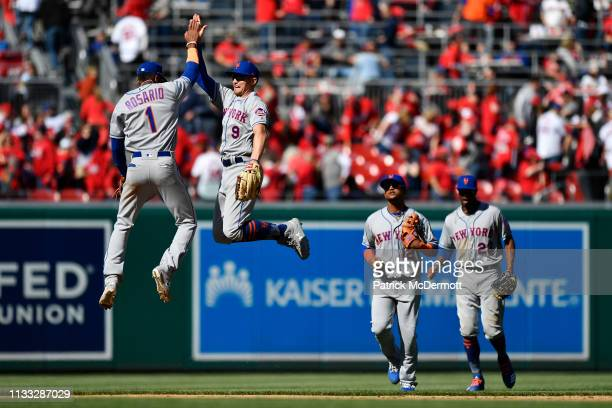 Amed Rosario and Brandon Nimmo of the New York Mets celebrate after the Mets defeated the Washington Nationals 20 on Opening Day at Nationals Park on...