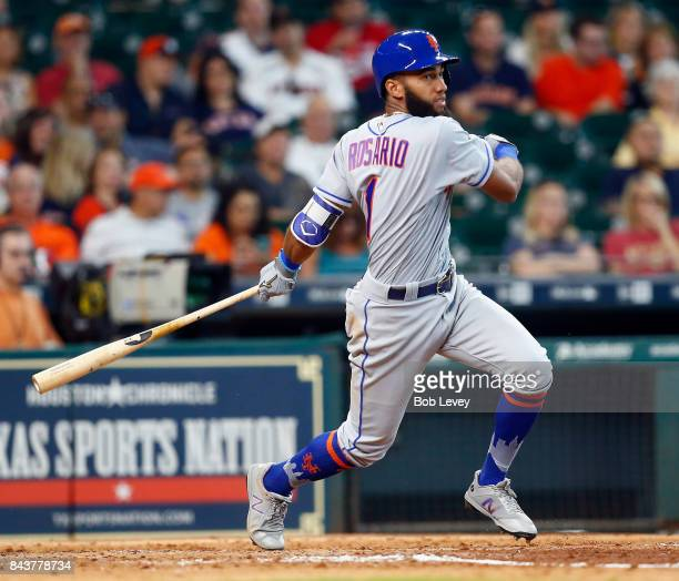 Amed Rosario of the New York Mets at bat against the New York Mets at Minute Maid Park on September 2 2017 in Houston Texas