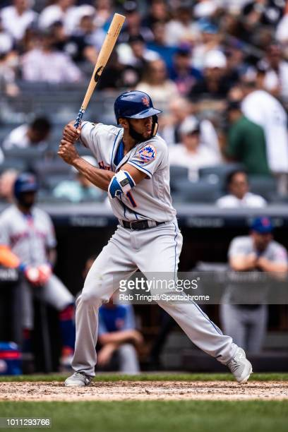 Amed Rosario of the New York Mets bats during the game against the New York Yankees at Yankee Stadium on July 21 2018 in the Bronx borough of New...