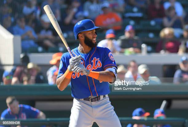 Amed Rosario of the New York Mets bats during the Spring Training game against the Detroit Tigers at Publix Field at Joker Marchant Stadium on March...