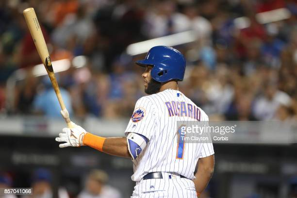 Amed Rosario of the New York Mets batting during the Washington Nationals Vs New York Mets MLB regular season game at Citi Field Flushing Queens on...