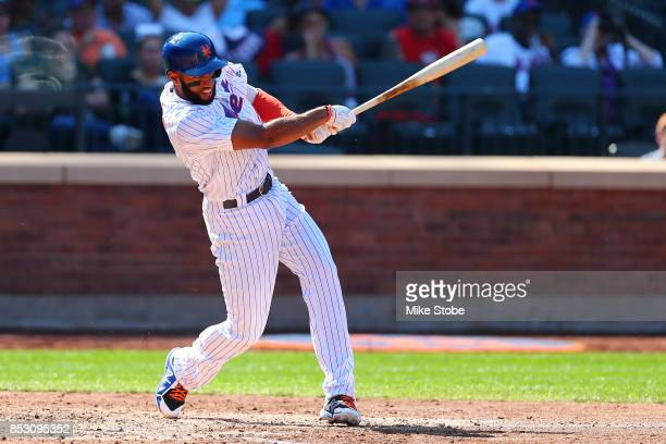 Amed Rosario of the New York Mets double to right in the fifth inning against the Washington Nationals at Citi Field on September 24 2017 in New York...
