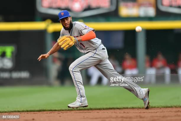 Amed Rosario of the New York Mets fields a ground ball against the Cincinnati Reds at Great American Ball Park on August 29 2017 in Cincinnati Ohio