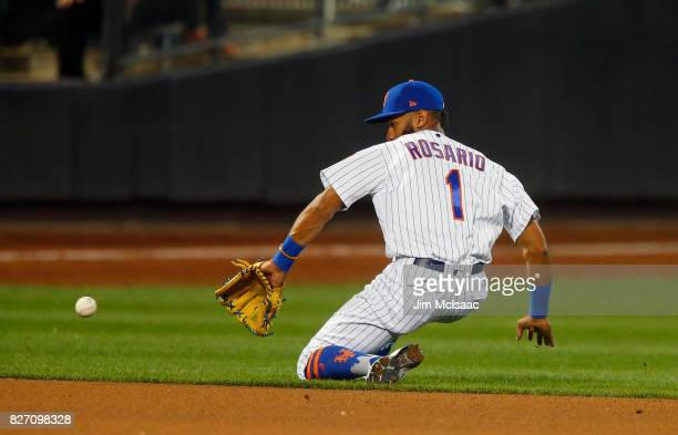 Amed Rosario of the New York Mets fields the ball for an out in the seventh inning against the Los Angeles Dodgers at Citi Field on August 6 2017 in...