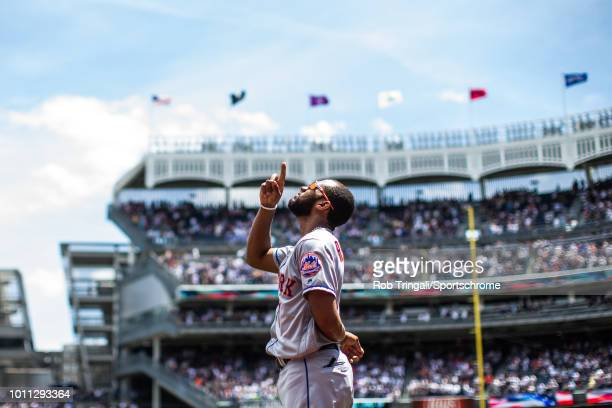 Amed Rosario of the New York Mets gestures the sky during the game against the New York Yankees at Yankee Stadium on July 21 2018 in the Bronx...