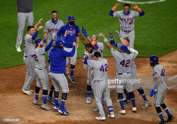 Amed Rosario of the New York Mets hits a walk-off home run to win the game during the seventh inning of the second game of a doubleheader against the...