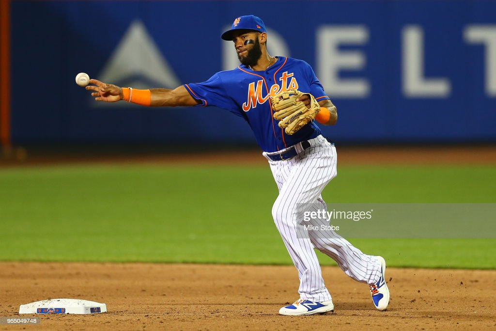 Amed Rosario #1 of the New York Mets in action against the Colorado Rockies at Citi Field on May 4, 2018 in the Flushing neighborhood of the Queens borough of New York City. Colorado Rockies defeated the New York Mets 8-7.