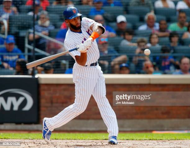 Amed Rosario of the New York Mets in action against the Los Angeles Dodgers at Citi Field on August 5 2017 in the Flushing neighborhood of the Queens...