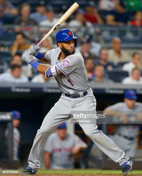 Amed Rosario of the New York Mets in action against the New York Yankees at Yankee Stadium on August 15 2017 in the Bronx borough of New York City...