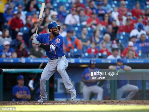 Amed Rosario of the New York Mets in action against the Philadelphia Phillies during a game at Citizens Bank Park on October 1 2017 in Philadelphia...