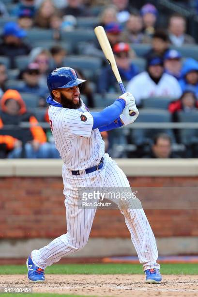 Amed Rosario of the New York Mets in action against the Philadelphia Phillies during a game at Citi Field on April 4 2018 in the Flushing...