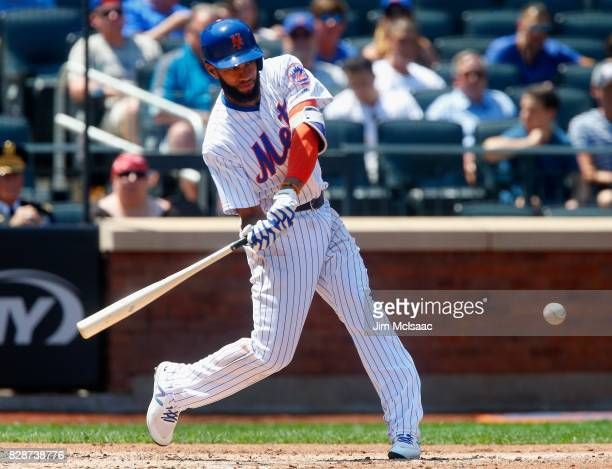 Amed Rosario of the New York Mets in action against the Texas Rangers at Citi Field on August 9 2017 in the Flushing neighborhood of the Queens...