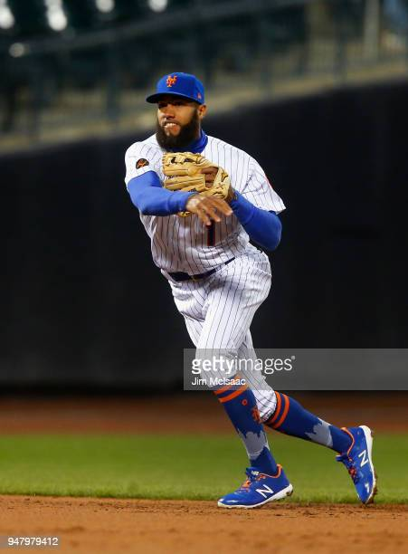 Amed Rosario of the New York Mets in action against the Washington Nationals at Citi Field on April 16 2018 in the Flushing neighborhood of the...