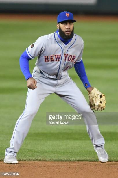 Amed Rosario of the New York Mets in position during a baseball game against the Washington Nationals at Nationals Park on April 8 2018 in Washington...