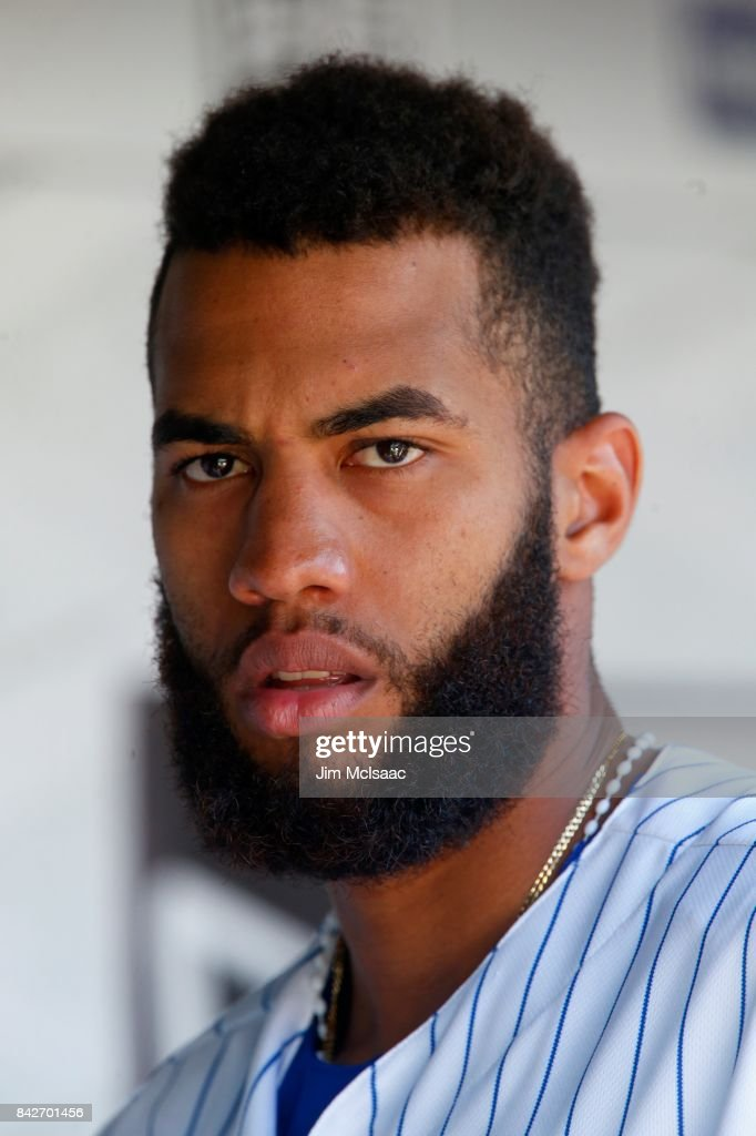 Amed Rosario #1 of the New York Mets looks on against the Philadelphia Phillies at Citi Field on September 4, 2017 in the Flushing neighborhood of the Queens borough of New York City. The Mets defeated the Phillies 11-7.