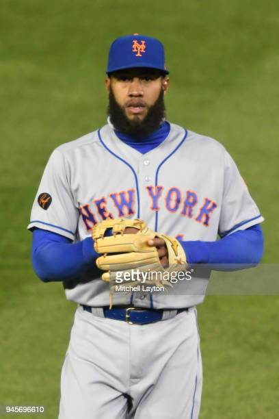 Amed Rosario of the New York Mets looks on before a baseball game against the Washington Nationals at Nationals Park on April 8 2018 in Washington DC...