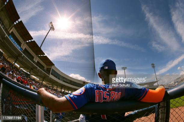 Amed Rosario of the New York Mets looks on during the seventh inning of a spring training baseball game against the Houston Astros at Fitteam...