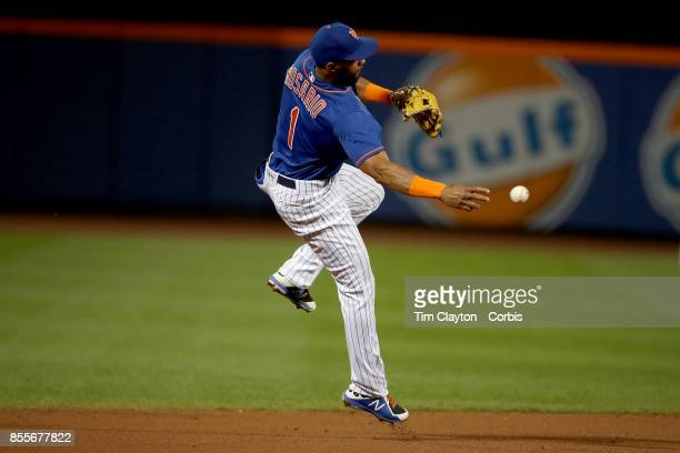 Amed Rosario of the New York Mets makes an out from shortstop during the Atlanta Braves Vs New York Mets MLB regular season game at Citi Field...