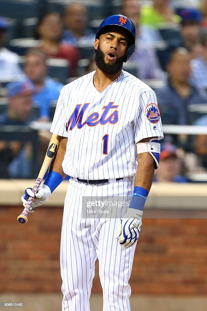 Amed Rosario #1 of the New York Mets reacts after a check swing was called a strike in the second inning against the Arizona Diamondbacks at Citi Field on August 21, 2017 in the Flushing neighborhood of the Queens borough of New York City.