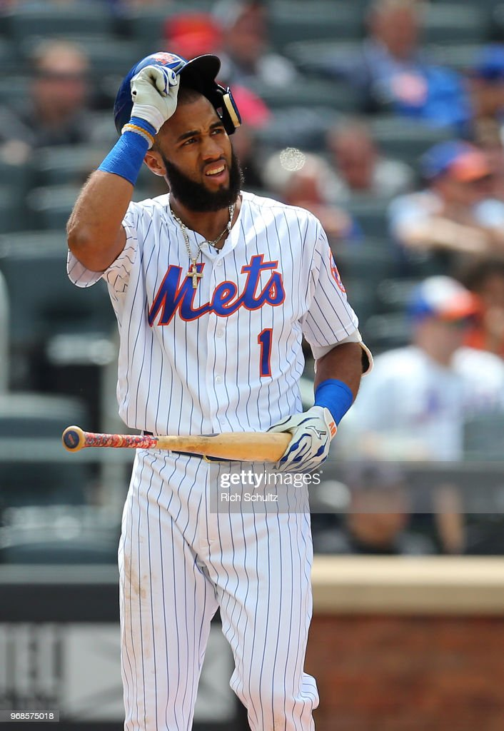 Amed Rosario #1 of the New York Mets reacts after striking out with the basses loaded to end the seventh inning of a game against the Baltimore Orioles at Citi Field on June 6, 2018 in the Flushing neighborhood of the Queens borough of New York City. The Orioles defeated the Mets 1-0.